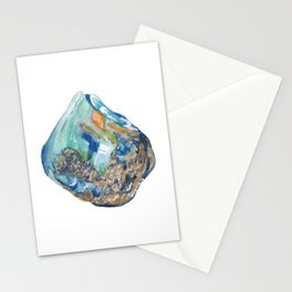 Opal October Birthstone Watercolor Illustration Stationery Cards