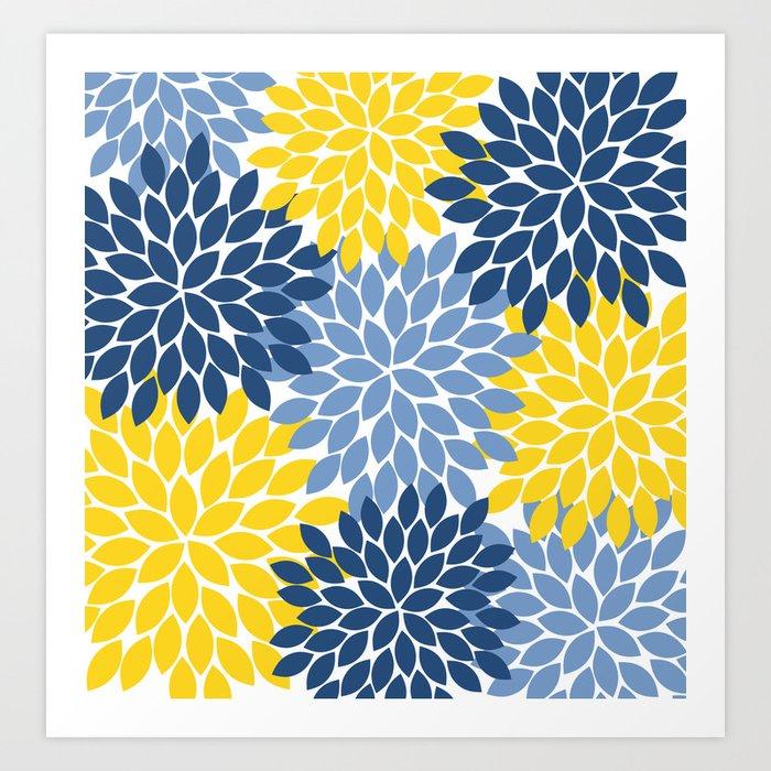Blue Yellow Flower Burst Floral Pattern Kunstdrucke