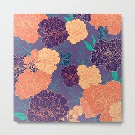 Purple Orange Anemone Metal Print