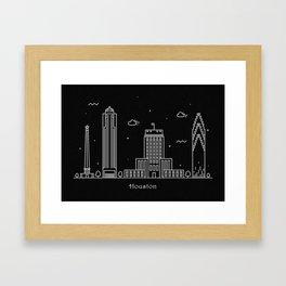 Houston Minimal Nightscape / Skyline Drawing Framed Art Print