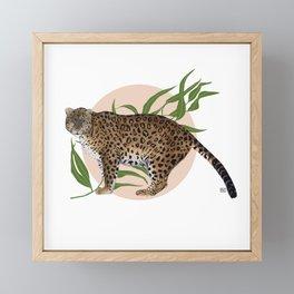 AMUR LEOPARD & FLOWER Framed Mini Art Print