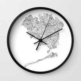 Queens - Hand Lettered Map Wall Clock