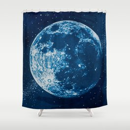 Big Blue Moon Shower Curtain