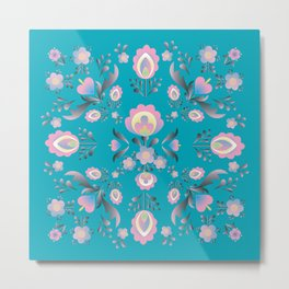 Dusty Blue Folk Flowers Metal Print