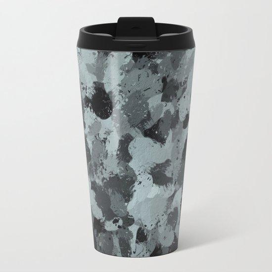 Black and Smokey Blue Pastels 3216 Metal Travel Mug