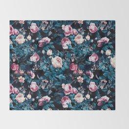 Roses Blue Throw Blanket