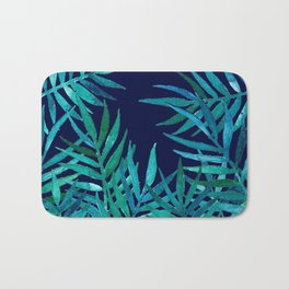 Watercolor Palm Leaves on Navy Bath Mat