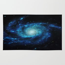 Spiral gAlaxy. Teal Ocean Blue Rug