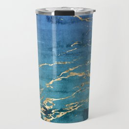 Aqua-Blue Sparse Marble Gradient with Gold Veins Travel Mug