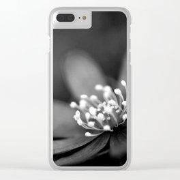 Blue spring flower Hepatica in bw II Clear iPhone Case