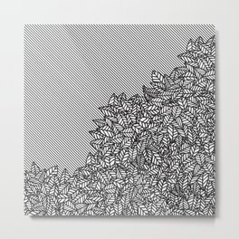 Modern Hand Drawn Foliage Leaves and Stripes Metal Print