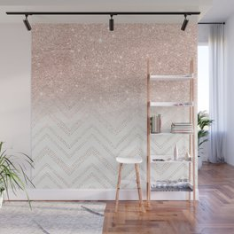 Modern faux rose gold glitter ombre modern chevron stitches pattern Wall Mural