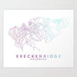 BRECKENRIDGE // Colorado Trail Map Rainbow Color Runs Minimalist Ski & Snowboard Illustration Art Print