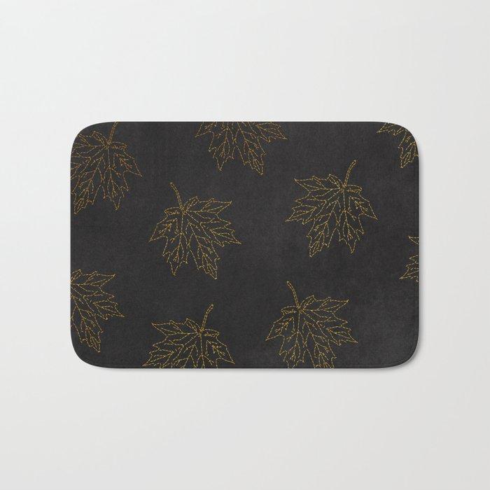 Autumn-world 3 - gold leaves on black chalkboard Bath Mat