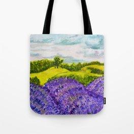 Lavender Fields Watercolor Tote Bag