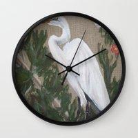 crane Wall Clocks featuring Crane by Lark Nouveau Studio