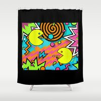 80s Shower Curtains featuring Pac-80s by Skorretto