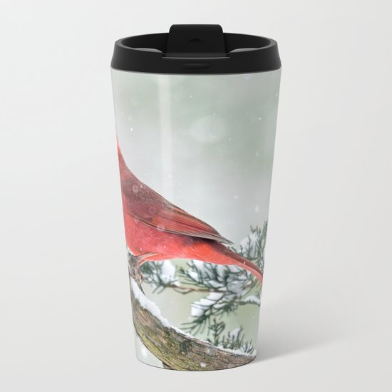 Cardinal Holding Steady in the Storm Metal Travel Mug