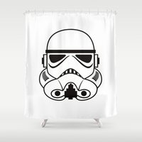 stormtrooper Shower Curtains featuring stormtrooper by Vreckovka