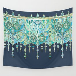 Art Deco Double Drop in Blues and Greens Wall Tapestry
