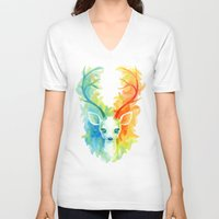 feather V-neck T-shirts featuring Feather Fawn by Freeminds