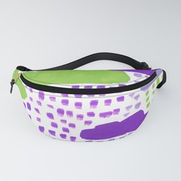 Hand Painted Purple Lilac and Green Rain Clouds Fanny Pack