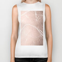 Paris France Minimal Street Map - Rose Gold Glitter on White Biker Tank