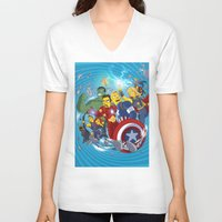 superheroes V-neck T-shirts featuring Superheroes by Adrien ADN Noterdaem