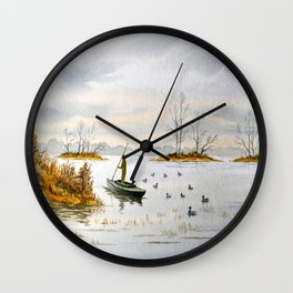Duck Hunting - The Island Duck Blind Wall Clock