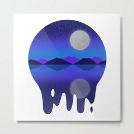 Moon Landscape Night Sky Blue Purple Metal Print