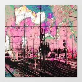 All About the Journey, Abstract Grunge Train Canvas Print