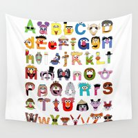 alphabet Wall Tapestries featuring Sesame Street Alphabet by Mike Boon