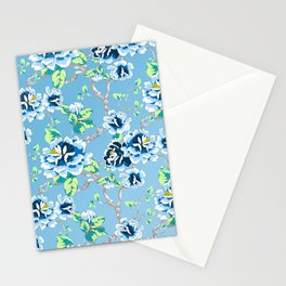 Chinoiserie Ming style Blue Floral Pattern Stationery Cards