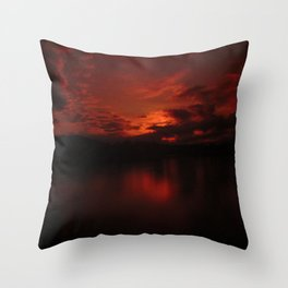Dark Red Sunset in Montana, Water Reflection, Hues of Red, Sailor's Delight Throw Pillow