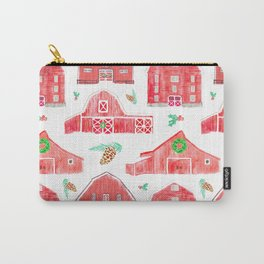 Watercolor Snowy Red Holiday Barns Carry-All Pouch
