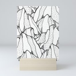 White pattern mountains Mini Art Print
