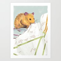 mouse Art Prints featuring Mouse by Louise Hubbard