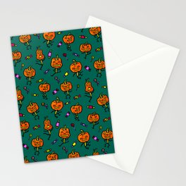 Pattern with dancing pumpkins (on dark green background) Stationery Cards