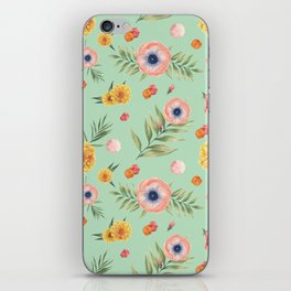 Hand painted coral yellow watercolor geometric floral iPhone Skin
