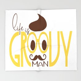 Typography Print Life is Groovy Man Hipster Eyeglasses Mustache Throw Blanket