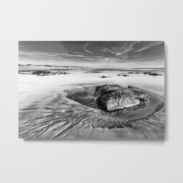 Idyllic beach with abstract rocks and sand patterns Metal Print
