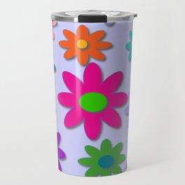 Flower Power - Light Purple Background - Fun Flowers - 60' Hippie Syle Travel Mug