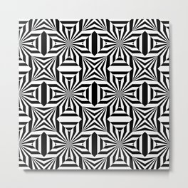 Black and white op art pattern with stars and striped lines Metal Print