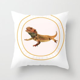 Some Angels Have Beards Bearded Dragon Lizard  Throw Pillow