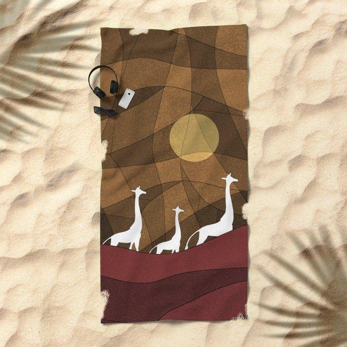 Beautiful warm giraffe family design Beach Towel