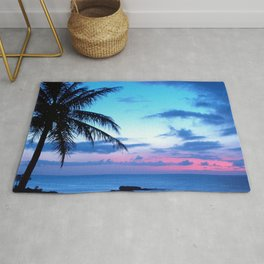 Tropical Island Beach Ocean Pink Blue Sunset Photo Rug