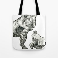 jurassic park Tote Bags featuring jurassic by BzPortraits