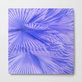 Lilac Purple Tropical Palm Leaves With Blue Accents Metal Print