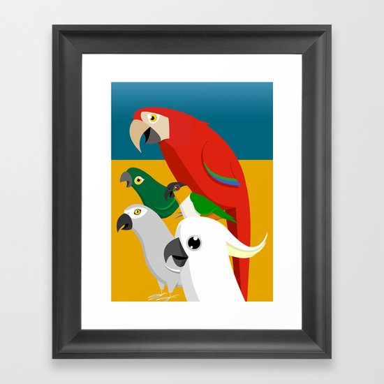 Loud Parrots Framed Art Print