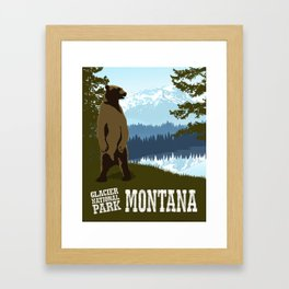 Glacier National Park Montana Travel Poster Framed Art Print